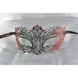 Filigree metal lace ball mask in red and black