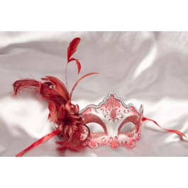 Red Daniela Silver - Feathered Masquerade Masks for Women