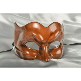 Joker face masquerade mask in one solid colour - rust brown