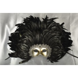Moulin Rouge feather Mardi Gras mask in silver