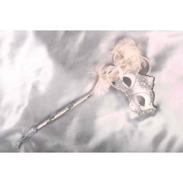 womens white and silver mask on stick