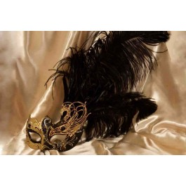 Black Tabatha Gold - Custom Venetian Mask with Fretwork Detail and Luxurious Feathers
