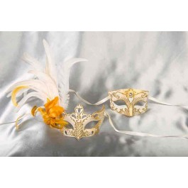 Venetian masks for couples - Tomboy Vanity White and Gold