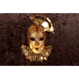 Bronze Tricornino Gold - Luxury Venetian Wall Mask with Top Hat and Neck Ruffles