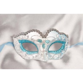 Turquoise Baby Fiore Silver - Small Carnival Masks