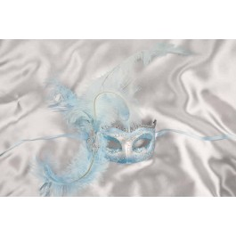 turquoise Side feather mask - Semplice silver