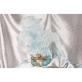 turquoise centre feather mask - Struzzo Gold