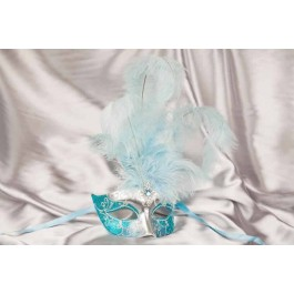 Turquoise Struzzo Silver - Ladies Ball Mask with Centre Feathers