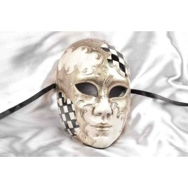 Full face theatre mask with diamond pattern in black and silver