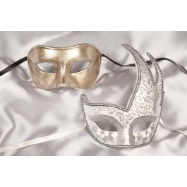 White Cigno Fiore Silver - Masquerade Masks for Couples