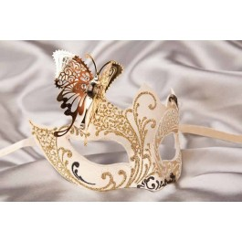 White Teresa Gold - Womens Eye Masks with Filigree Metal Butterfly
