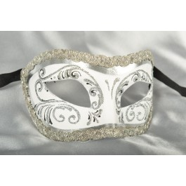 white and silver mens Venetian mask