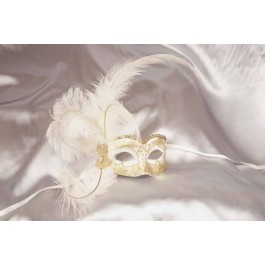 white Side feather mask - Semplice Gold