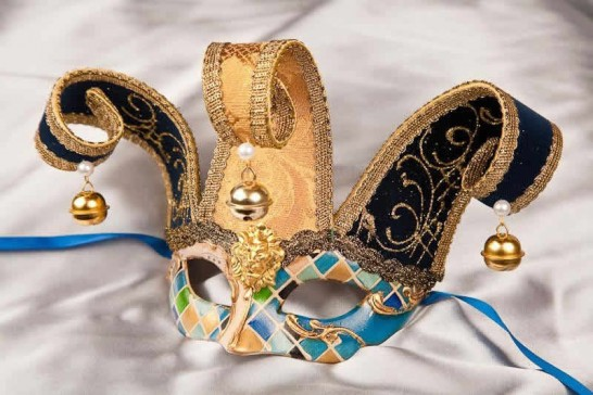 Blue Small Jester Masquerade Masks