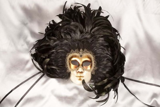 black feather Venetian wall mask