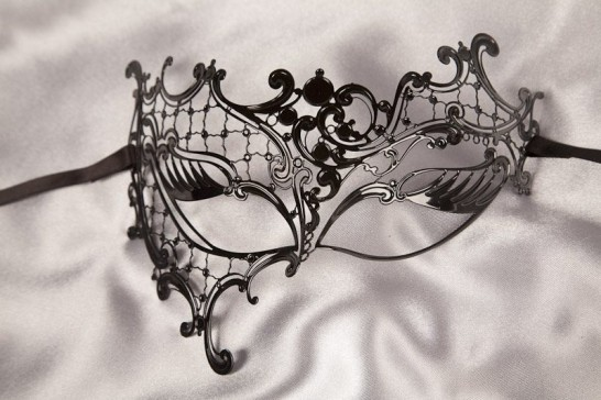 black lace metal phantom mask