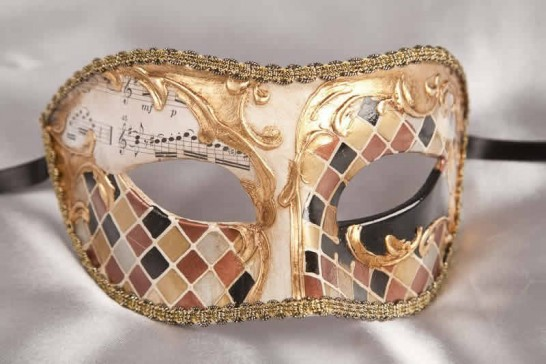 masquerade ball mask Larga Mosaic Gold
