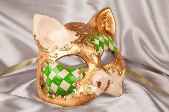 green cat mask with Diamond Pattern