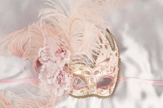 Gold Venetian Swan Masks with feathers in pink