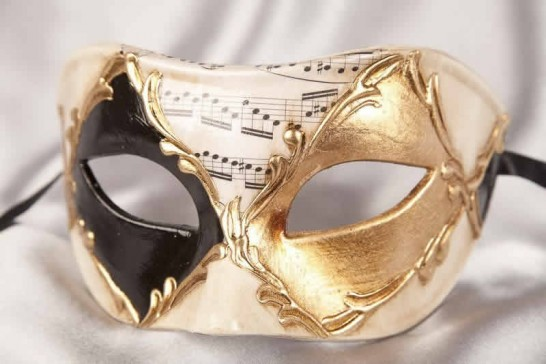Colombina Losanga masquerade mask in black and gold
