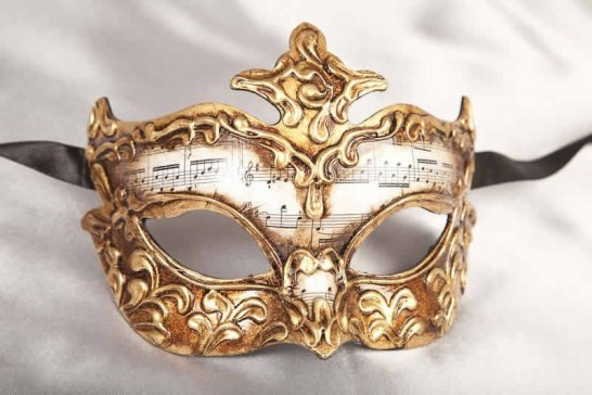 Venetian Masquerade Masks with Musical Notes - Stucco Lady Gold