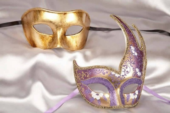 couples masquerade masks purple gold