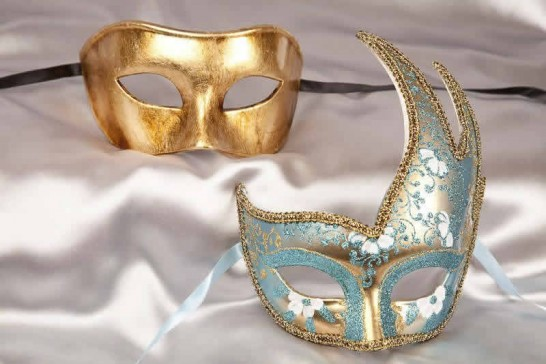 couples masquerade masks turquoise gold