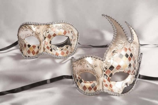 silver mosaic masks for a couple