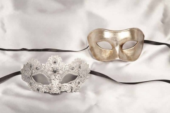 silver luxury lace masks for couple