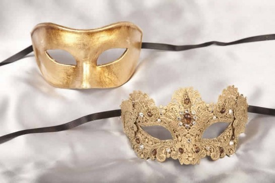 gold luxury lace masks for couple