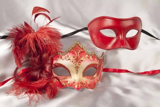 couples masks red gold