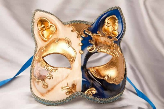 Blue Cat Mask with Venetian Scenes