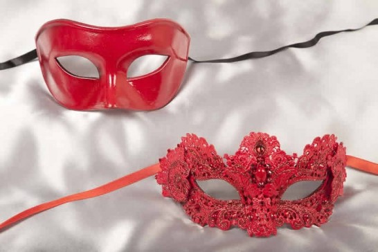 red luxury lace masks for couple