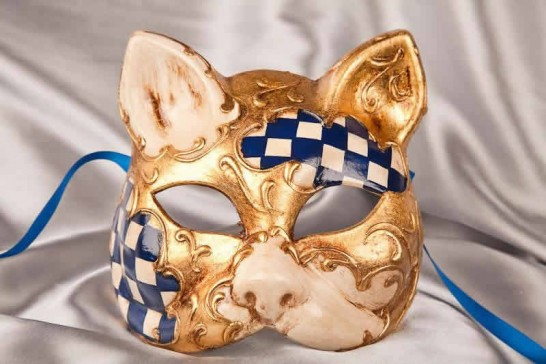 Blue cat mask with Diamond Pattern