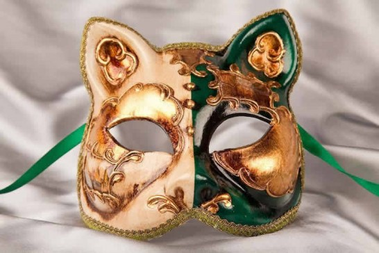 Green Cat Mask with Venetian Scenes