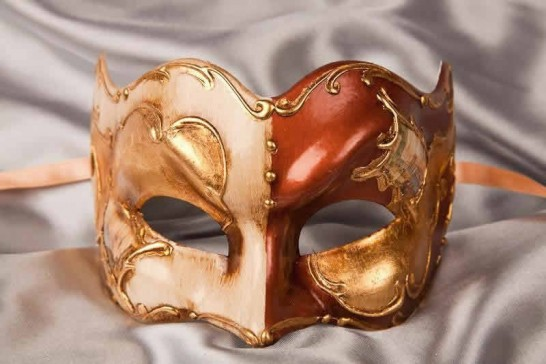 Rust and gold Joker face masquerade mask with Venetian scenes