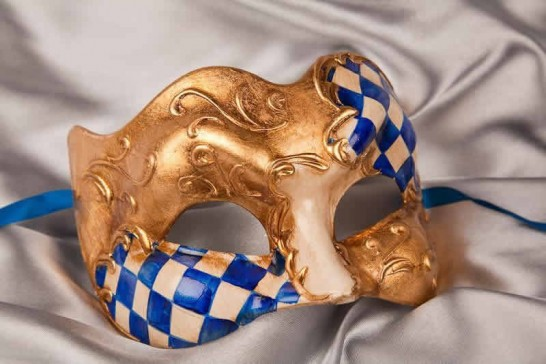 Blue and Gold Diamond Detail Joker Masquerade Masks