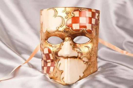 Brown Bauta Scacchi - Stock Character Masks with Diamond Check