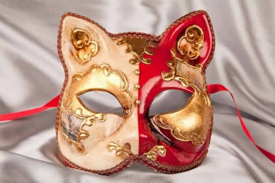Red Cat Mask with Venetian Scenes