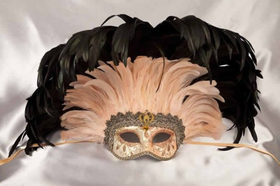 Moulin Rouge feather Mardi Gras mask in peach