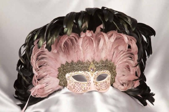 Moulin Rouge feather Mardi Gras mask in pink