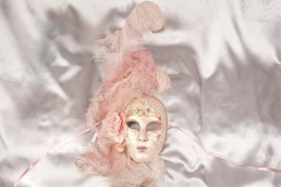 Volto Fiore - Pink and Gold Feathered Venetian Wall Mask