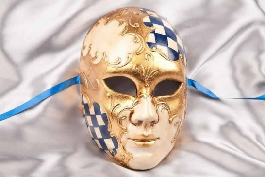 Blue Volto Scacchi - Full Face Masks with Diamond Pattern