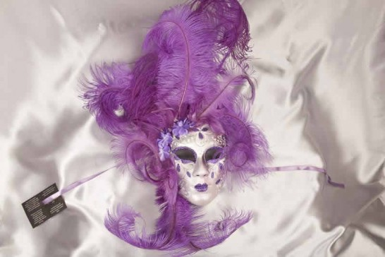 Volto Fiore - Purple and Silver Feathered Venetian Wall Mask