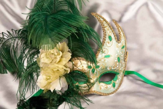 Gold Venetian Swan Masks with feathers in green