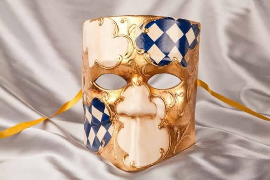 Blue Diamond Check Masquerade and Theatre Masks