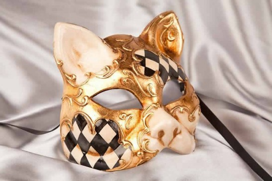 black cat mask with Diamond Pattern