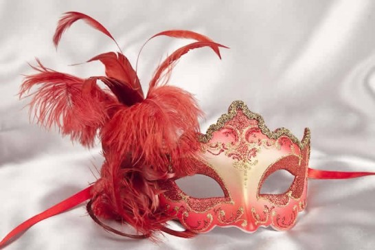 Red feathered mask - Daniela Gold