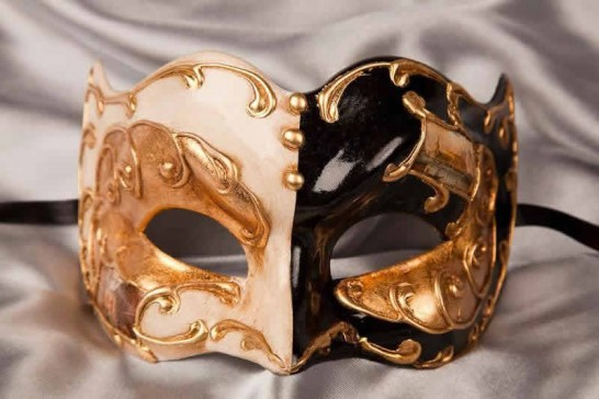 Black and gold Joker face masquerade mask with Venetian scenes