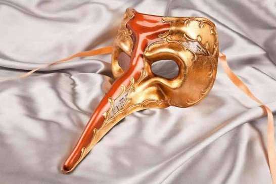 rust and gold big nose masquerade mask